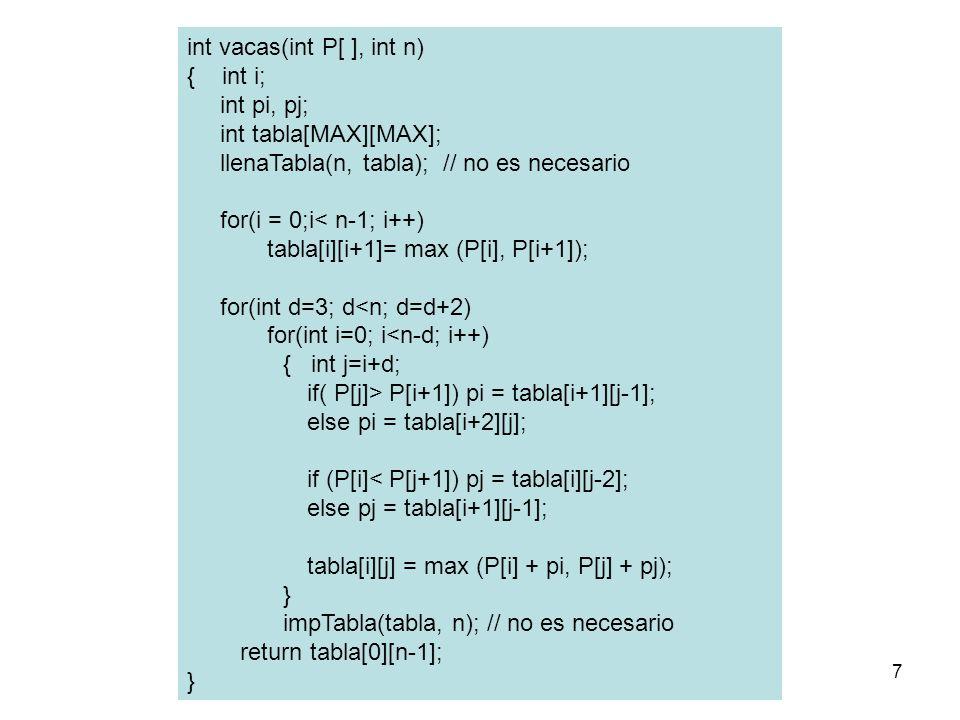 int vacas(int P[ ], int n) { int i; int pi, pj; int tabla[MAX][MAX];